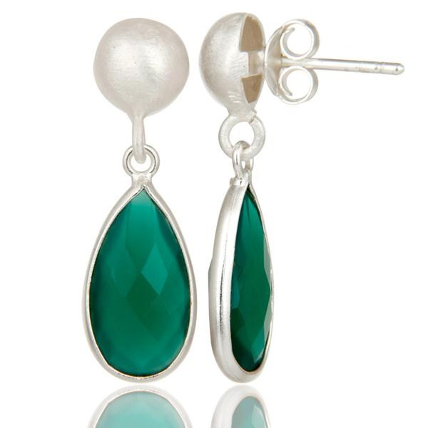 Suppliers Solid Sterling Silver Green Onyx Gemstone Bezel Set Teardrop Earrings