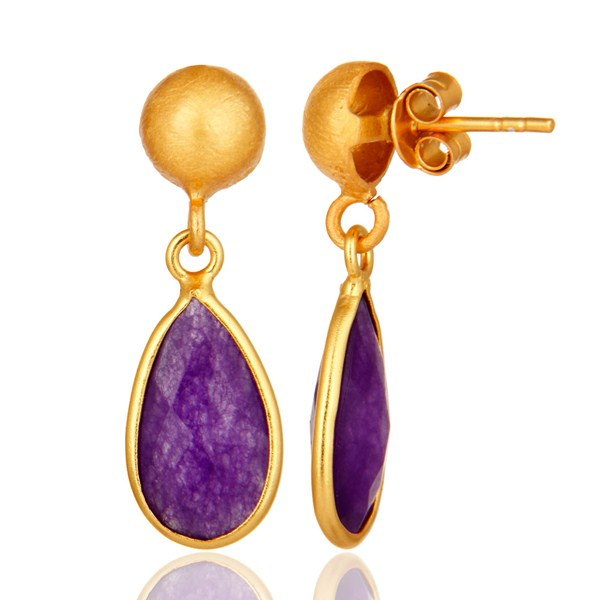 Suppliers Purple Chalcedony Sterling Silver Drop Earrings With Yellow Gold Plated