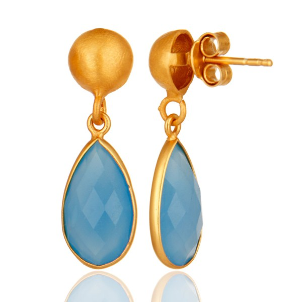 Suppliers 18K Gold Plated Sterling Silver Faceted Blue Chalcedony Gemstone Drop Earrings