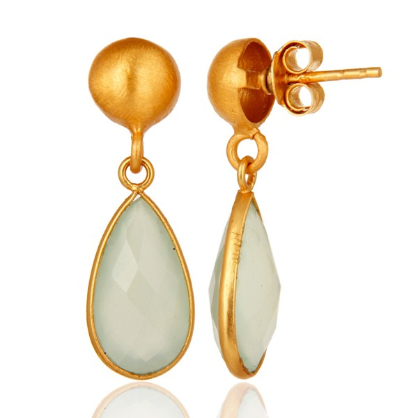Gold Plated Sterling Silver Faceted Green Chalcedony Teardrop Bezel Earring From Jaipur India