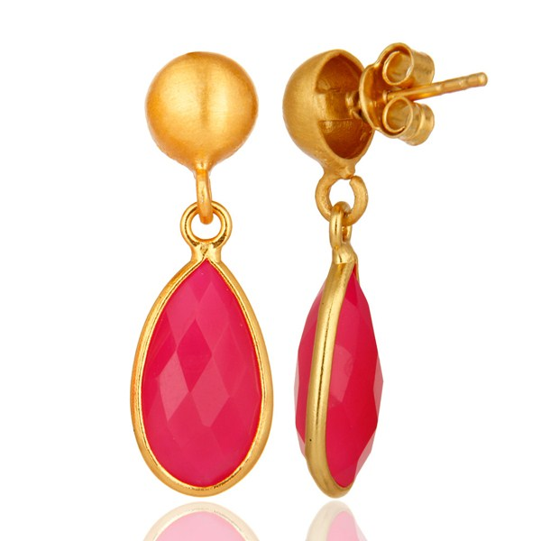 Suppliers Faceted Pink Chalcedony Drop Earrings In 18K Gold Over Sterling Silver