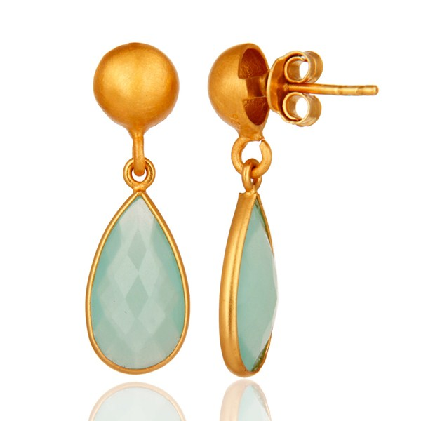 Faceted Blue Chalcedony Gemstone Gold Plated Sterling Silver Drop Earrings From Jaipur India