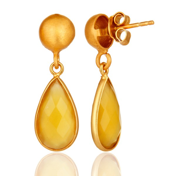 Suppliers Faceted Yellow Moonstone Pear Shaped Gold Plated Sterling Silver Drop Earrings