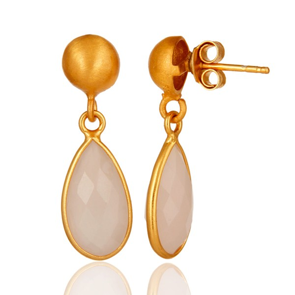 Suppliers Faceted Dyed Rose Chalcedony Gemstone 24K Gold Plated Sterling Silver Earrings