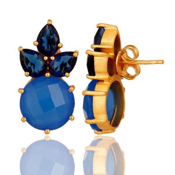 Suppliers 18K Yellow Gold Plated Sterling Silver Blue Chalcedony Corundum Stud Earrings