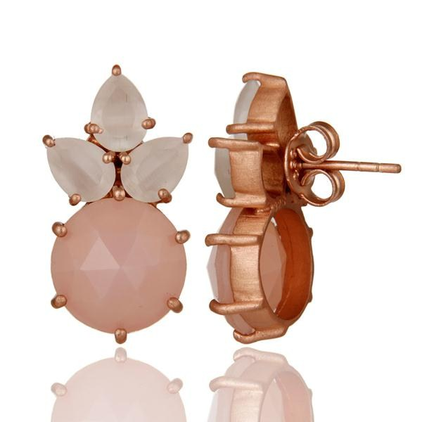 Suppliers 18K Rose Gold Plated Silver White Moonstone And Rose Chalcedony Stud Earrings