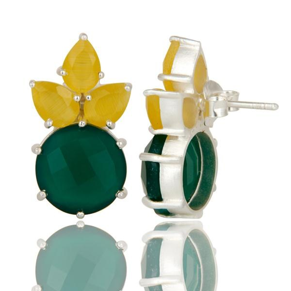 Suppliers Solid Sterling Silver Yellow Moonstone & Green Onyx Gemstone Stud Earrings
