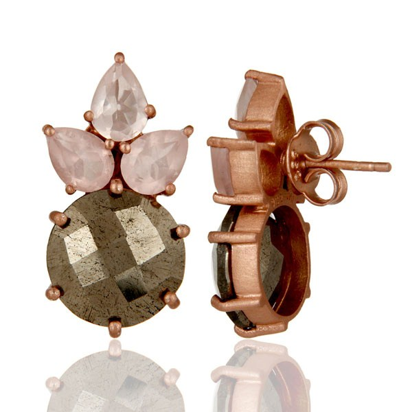 Suppliers 18K Rose Gold Plated Sterling Silver Pyrite And Rose Quartz Post Stud Earrings