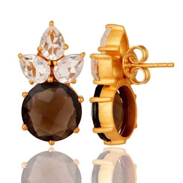Suppliers Gold Plated Sterling Silver Crystal Quartz And Smoky Quartz Post Stud Earring