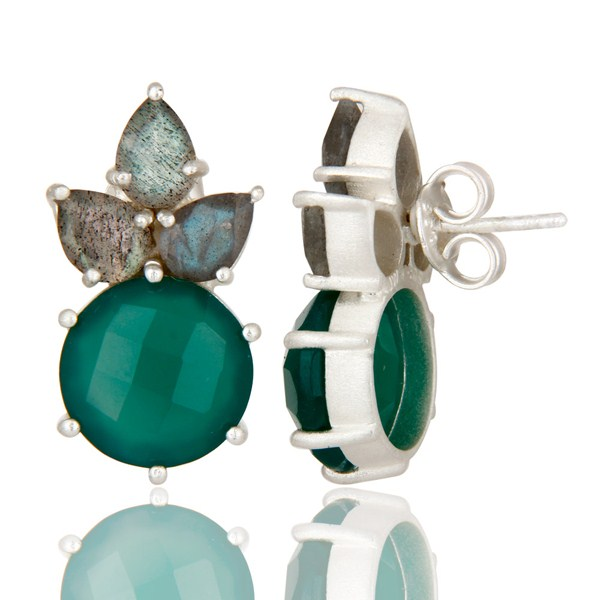 Suppliers 925 Sterling Silver Green Onyx And Labradorite Prong Set Gemstone Stud Earrings