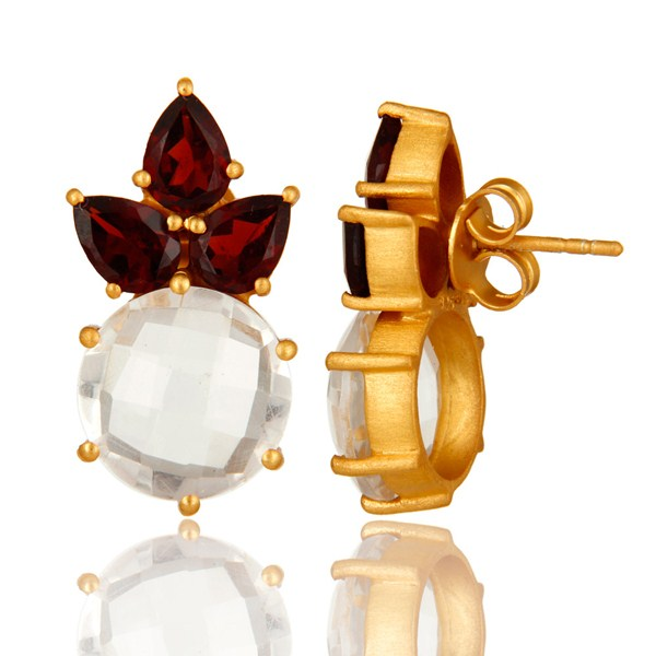 Suppliers 14K Yellow Gold Plated Sterling Silver Garnet And Crystal Quartz Stud Earrings
