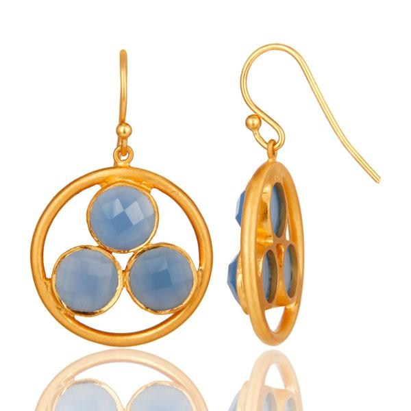 Suppliers Handmade 18k Gold Plated Silver Blue Chalcedony Gemstone Circle Dangle Earrings
