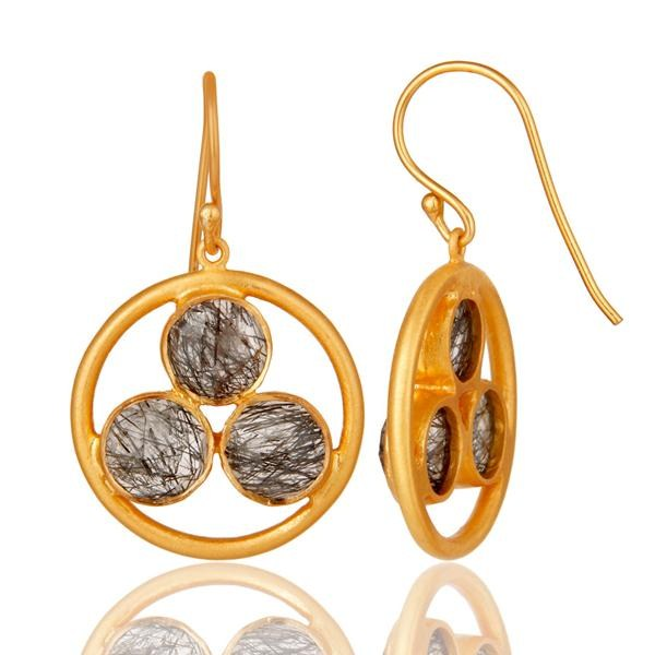 Suppliers Artisan 18k Gold Plated Silver Black Rutile Gemstone Circle Dangle Earrings