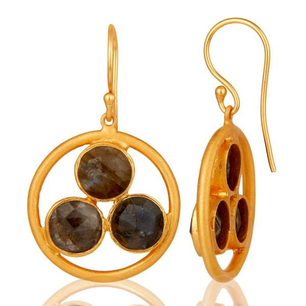 Suppliers 18k Gold Plated 925 Silver Labradorite Gemstone Circle Dangle Handmade Earrings