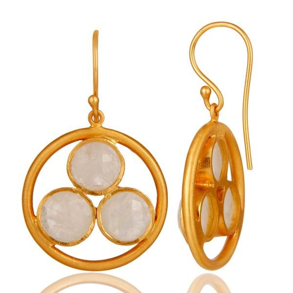 Suppliers 18k Gold Plated 925 Silver Rainbow Moonstone Gemstone Circle Dangle Earrings
