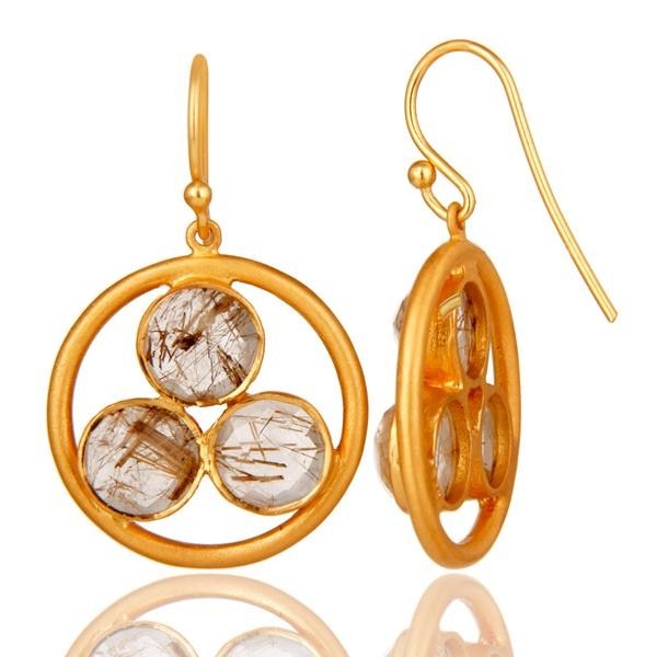 Suppliers 18k Gold Plated Sterling Silver Yellow Rutile Gemstone Circle Dangle Earrings