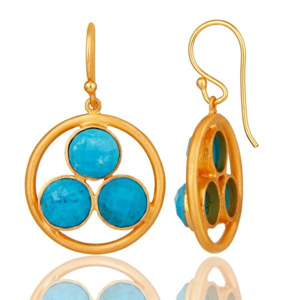 Suppliers 18k Yellow Gold Plated Solid Silver Turquoise Gemstone Circle Dangle Earrings