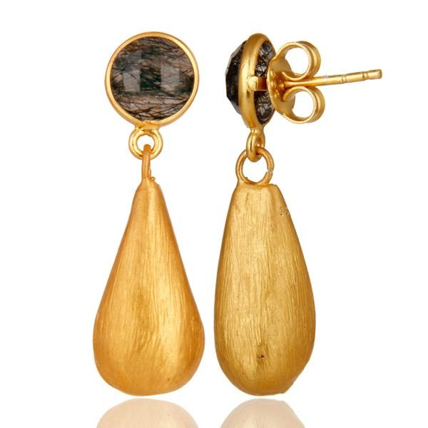 Suppliers Tourmulated Quartz 22K Yellow Gold Plated Sterling Silver Teardrop Earrings