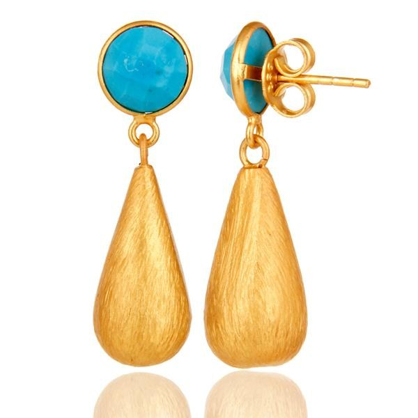 Suppliers 22K Yellow Gold Plated Sterling Silver Turquoise Gemstone Teardrop Earrings
