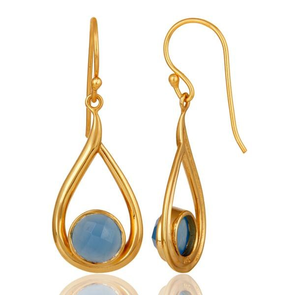 Suppliers 18k Yellow Gold Plated Sterling Silver Blue Chalcedony Gemstone Artisan Earring