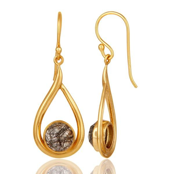 Suppliers 18k Yellow Gold Plated Tourmulated Quartz Gemstone Sterling Silver  Earring