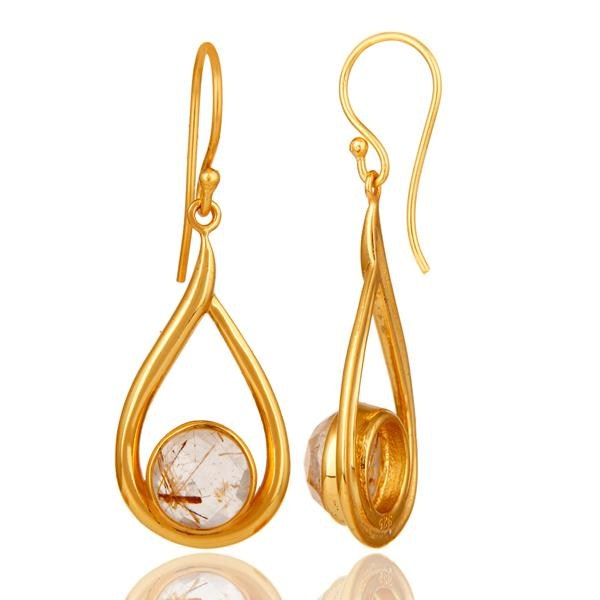 Suppliers 18k Yellow Gold Plated Rutilated Quartz Gemstone Sterling Silver  Earring