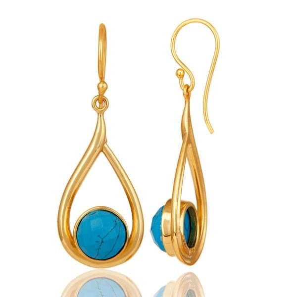 Suppliers 18k Yellow Gold Plated Sterling Silver Turquoise Drop Dangle Earring