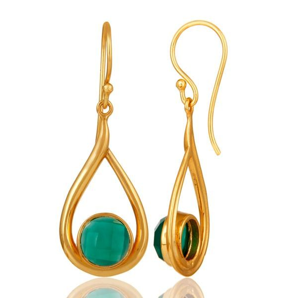 Suppliers 18k Yellow Gold Plated Green Onyx Sterling Silver Earring