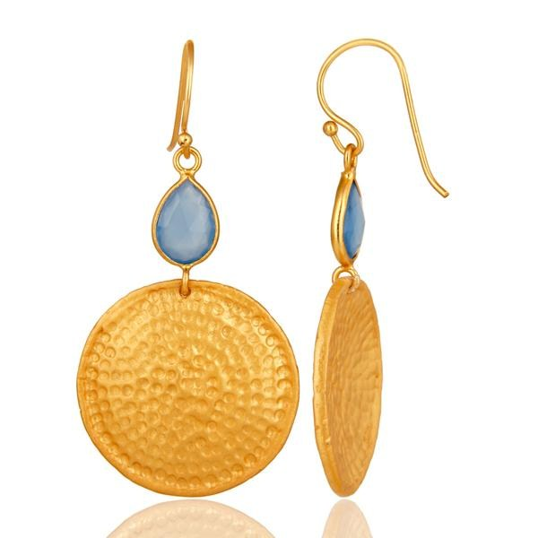 Suppliers 22K Gold Plated Sterling Silver Blue Chalcedony Hammered Disc Dangle Earrings