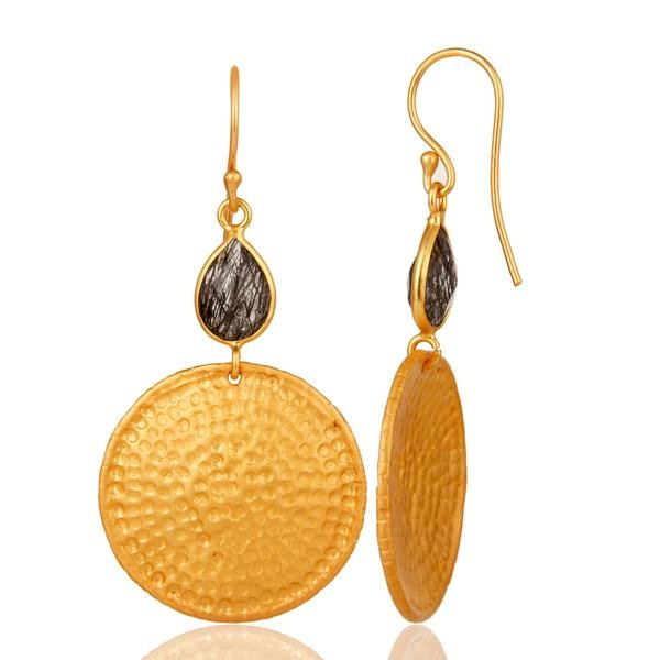 Suppliers 22K Gold Plated Sterling Silver Black Rutile Hammered Disc Dangle Earrings