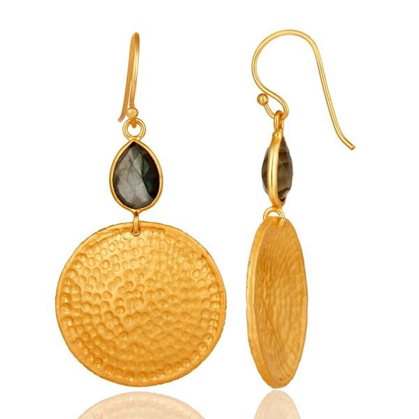 Suppliers 22K Gold Plated Sterling Silver Hammered Disc Dangle Earrings With Labradorite