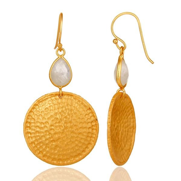 Suppliers 22K Gold Plated Sterling Silver Rainbow Moonstone Hammered Disc Dangle Earrings