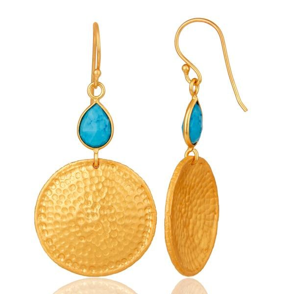 Suppliers 22K Gold Plated Sterling Silver Turquoise Disc Dangle Hammered Earrings