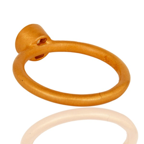 Suppliers 18K Gold Plated Sterling Silver Natural Citrine Gemstone Stackable Ring