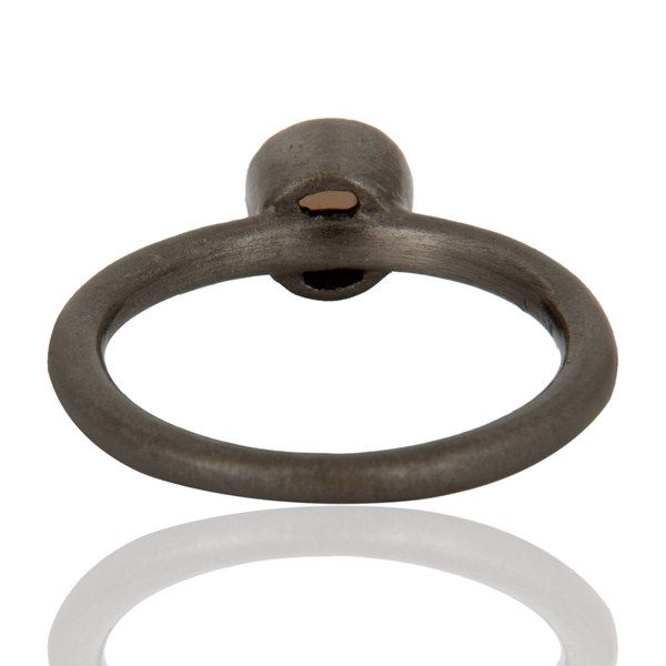 Top Selling Black Rhodium Plated Plated Sterling Silver Natural Smoky Quartz Stacking Ring