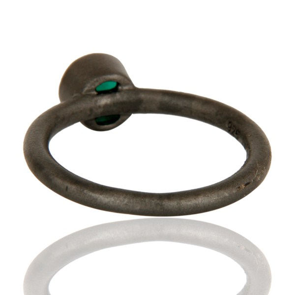 Suppliers Black Oxidized Sterling Silver Green Onyx Gemstone Stacking Ring