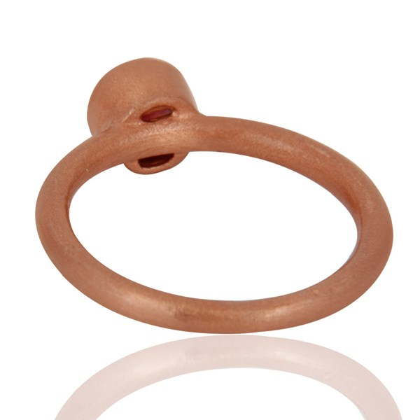 Top Selling 18K Rose Gold Plated Sterling Silver Garnet Gemstone Stacking Ring