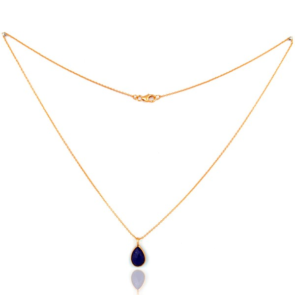 Suppliers 925 Silver Lapis Lazuli 18-karat Gold Plated Third Eye Chakra Pendant Necklace