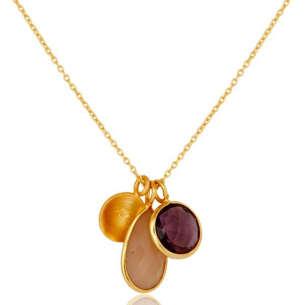 Suppliers Amethyst & Chalcedony 18k Gold Plated Sterling Silver Bazel Set Chain Pendant