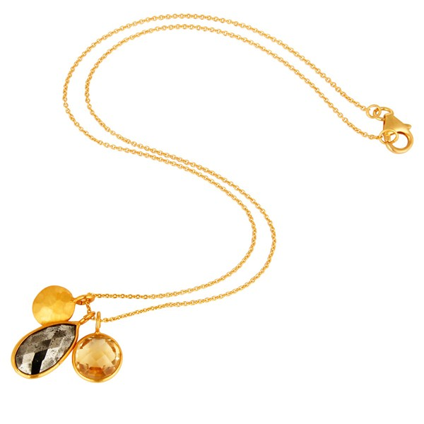 Suppliers 18K Gold Plated Sterling Silver Bezel Set Citrine & Pyrite Pendant With Chain