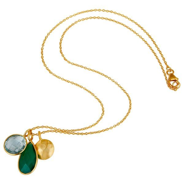 Suppliers 18K Gold Plated Sterling Silver Bezel Set Blue Topaz & Onyx Pendant With Chain