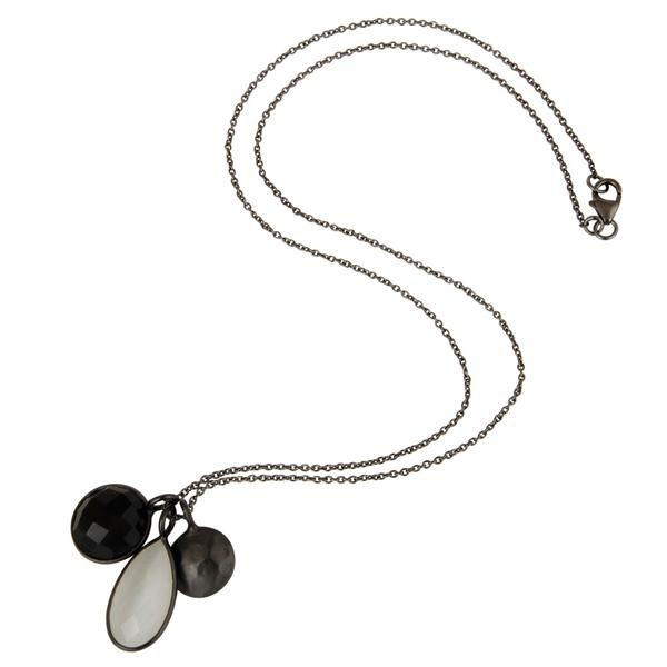 Suppliers White Moonstone And Black Onyx Bezel Sterling Silver Pendant With 16