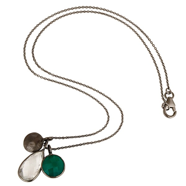 Suppliers Green Onyx And Crystal Quartz Bezel Set Pendant In Black Rhodium Plated Silver
