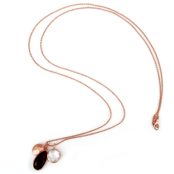 Suppliers 18K Rose Gold Plated Sterling Silver Crystal Quartz And Smoky Pendant With Chain