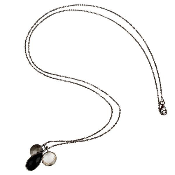 Suppliers Oxidized Sterling Silver Crystal Quartz And Black Onyx Drop Pendant With Chain