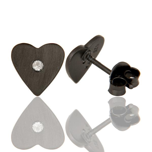 Suppliers Oxidized Sterling Silver White Topaz Heart Stud Earrings For Her
