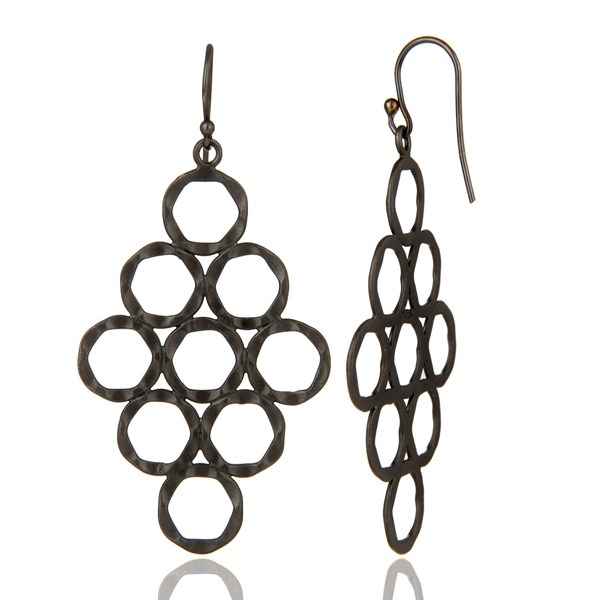 Suppliers 925 Sterling Silver With Oxidized Hammered Open Circle Dangle Earrings