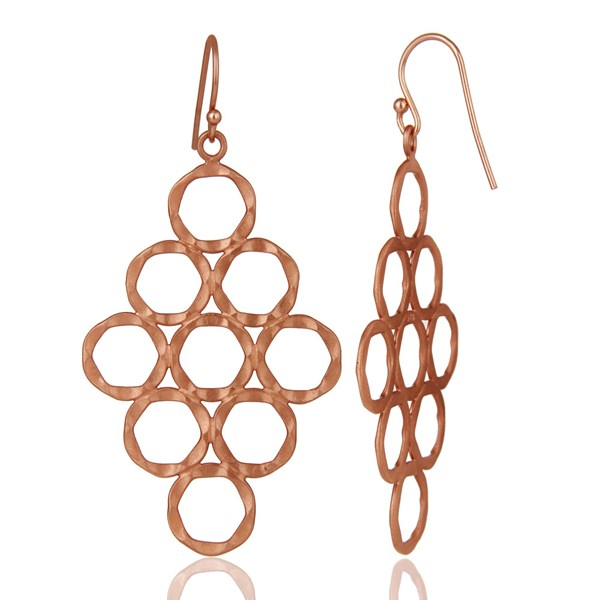 Suppliers 18K Rose Gold Plated Sterling Silver Hammered Multi Open Circle Dangle Earrings