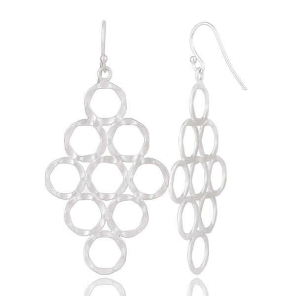 Suppliers Handmade 925 Solid Sterling Silver Hammered Multi Circle Dangle Earrings
