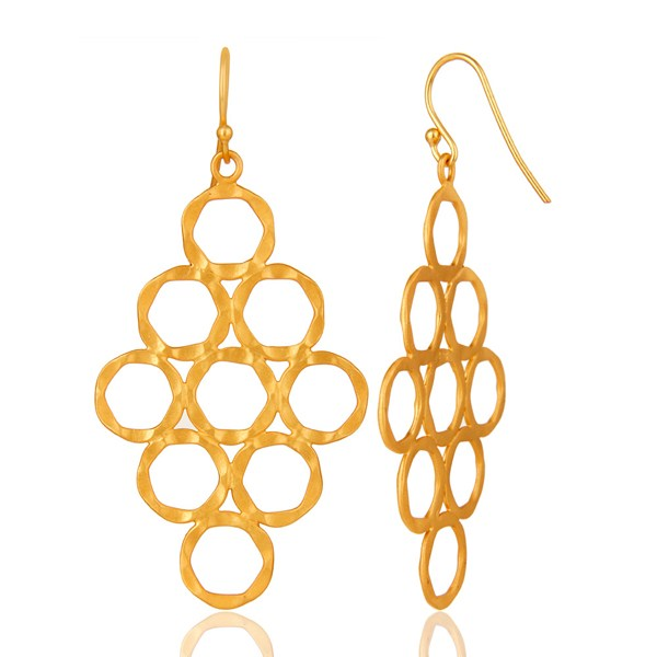 Suppliers 24K Yellow Gold Plated Sterling Silver Hammered Open Circle Dangle Earrings